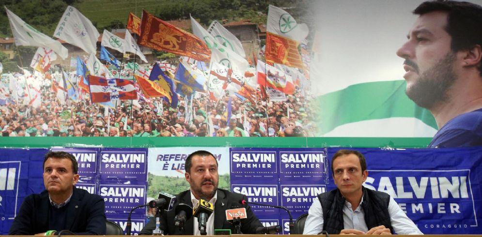 Matteo Salvini, Gian Marco Centinaio e Massimiliano Fedriga