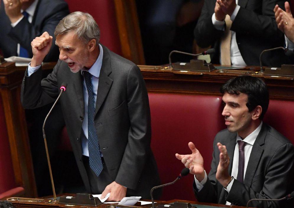 L'intervento del deputato del Pd, Graziano Delrio, durante il dibattito alla Camera sul voto di fiducia al Governo Conte