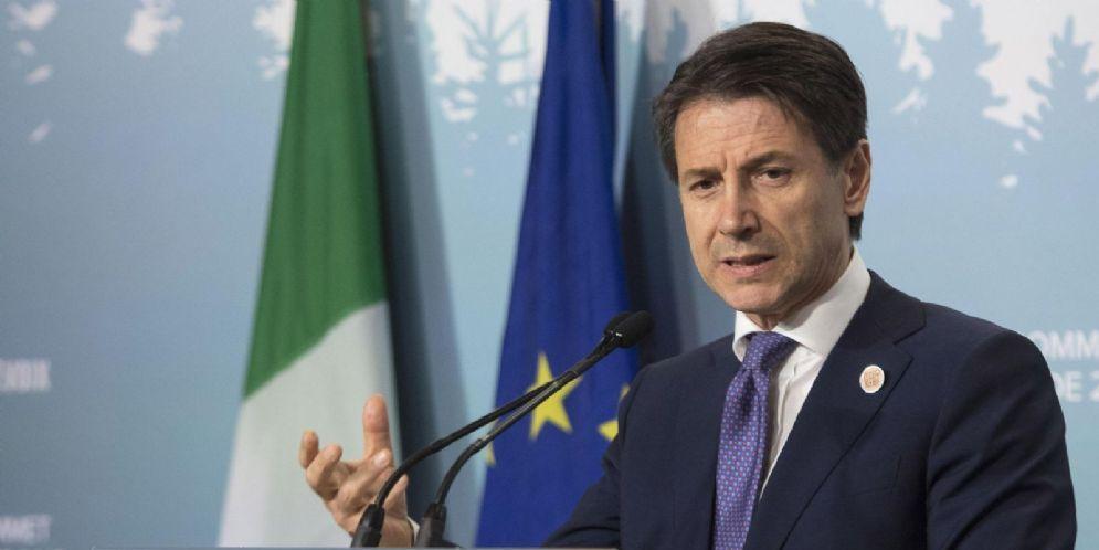 Giuseppe Conte durante la conferenza stampa al termine del G7
