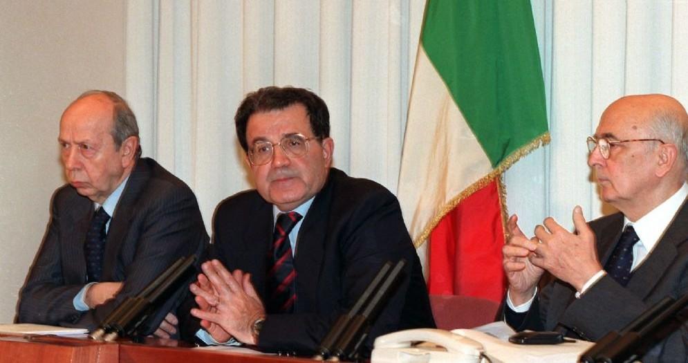 Lamberto Dini, Romano Prodi e Giorgio Napolitano
