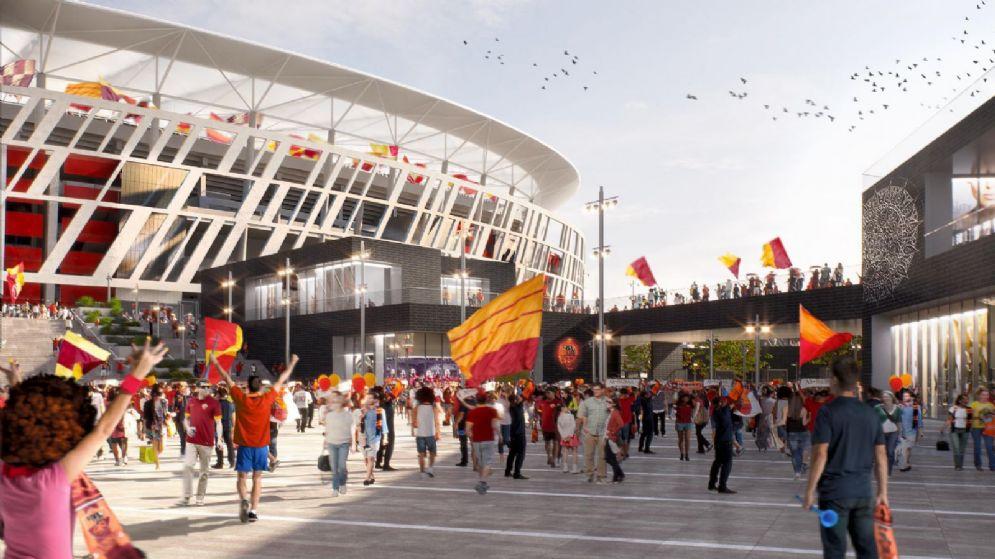 Un'immagine virtuale del nuovo stadio della Roma