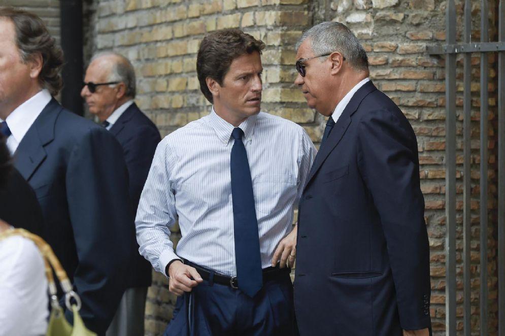 Il costruttore Luca Parnasi durante i funerali del collega Claudio Salini, morto in un incidente stradale