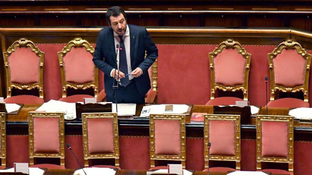Il ministro dell'Interno, Matteo Salvini, riferisce sulla vicenda Aquarius nell'aula di Palazzo Madama