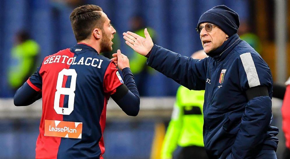 Bertolacci con il tecnico del Genoa Ballardini