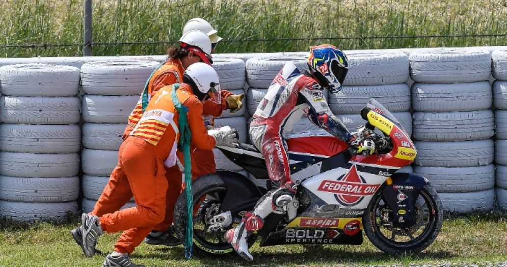 Jorge Navarro nelle vie di fuga del GP di Catalogna di Moto2 a Barcellona