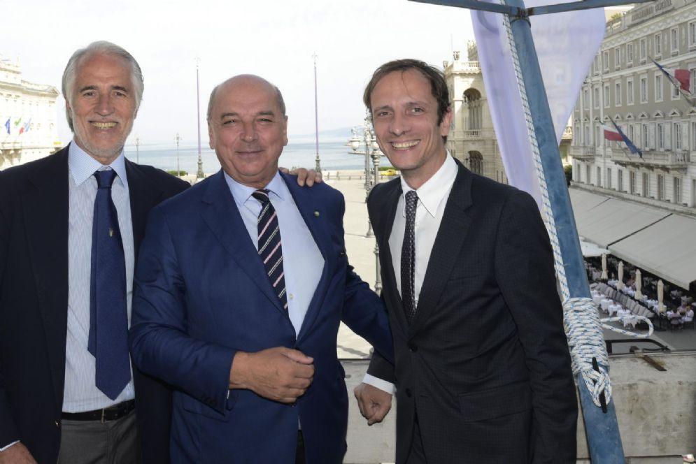 Il presidente nazionale del Coni, Giovanni Malagò, il sindaco di Trieste Roberto Dipiazza e il governatore della Regione FVG Massimiliano Fedriga