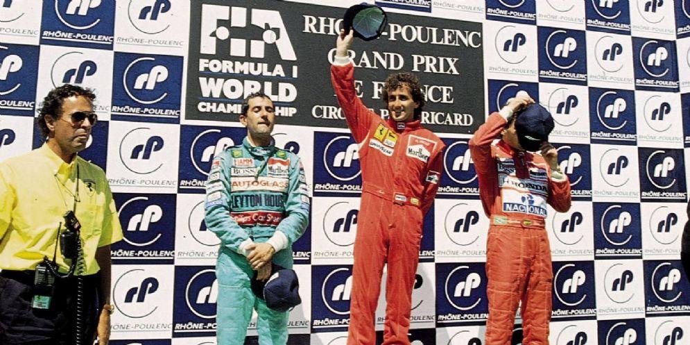 Il podio del Gran Premio del Paul Ricard 1990 con Alain Prost davanti ad Ivan Capelli e Ayrton Senna