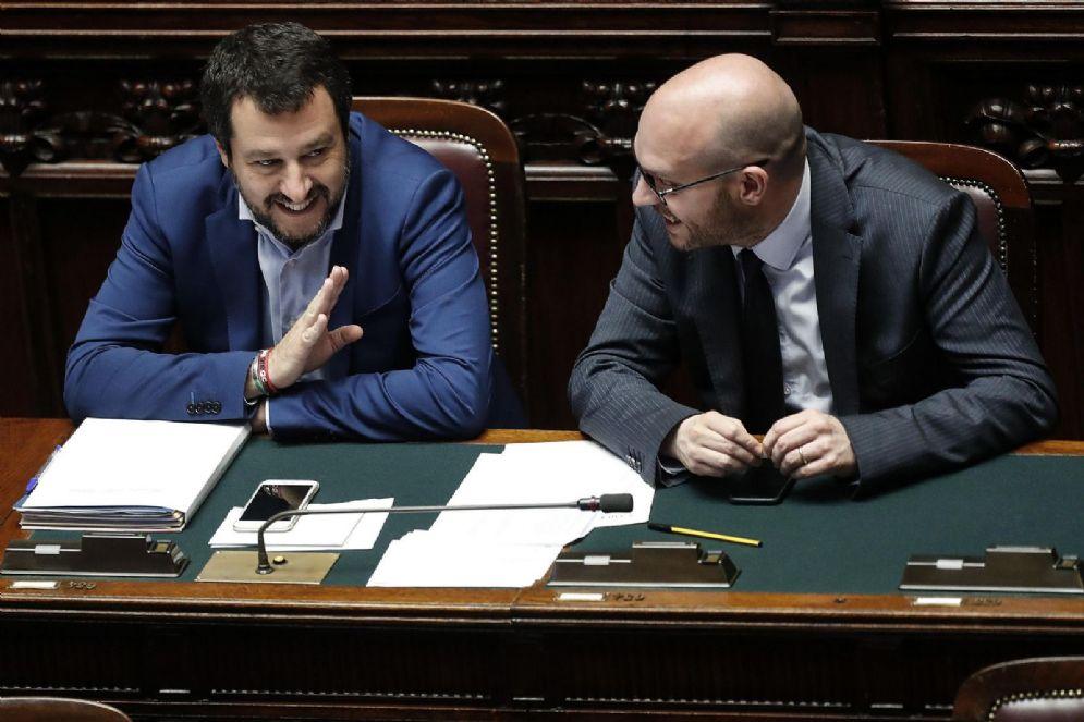 Matteo Salvini con Lorenzo Fontana, ministro della Famiglia e della Disabilità