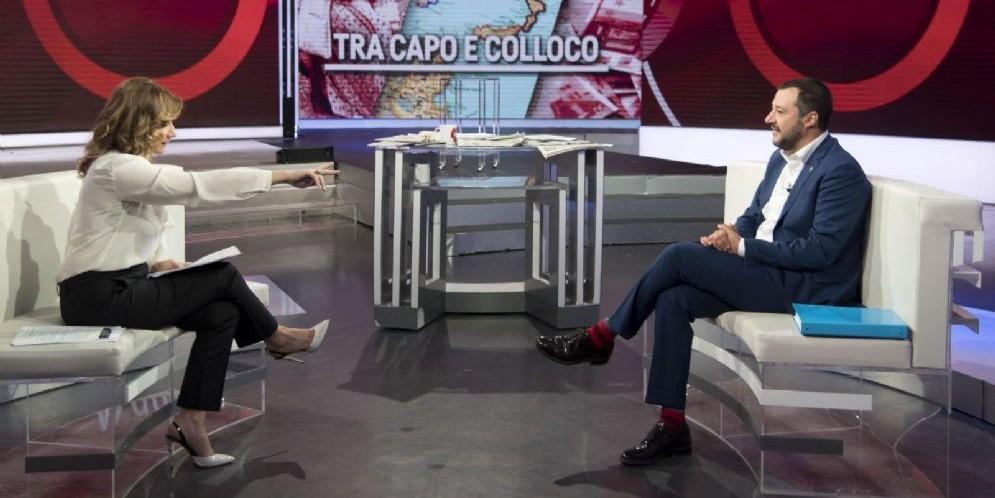 Il ministro dell'Interno Matteo Salvini ospite ad Agorà su Rai3