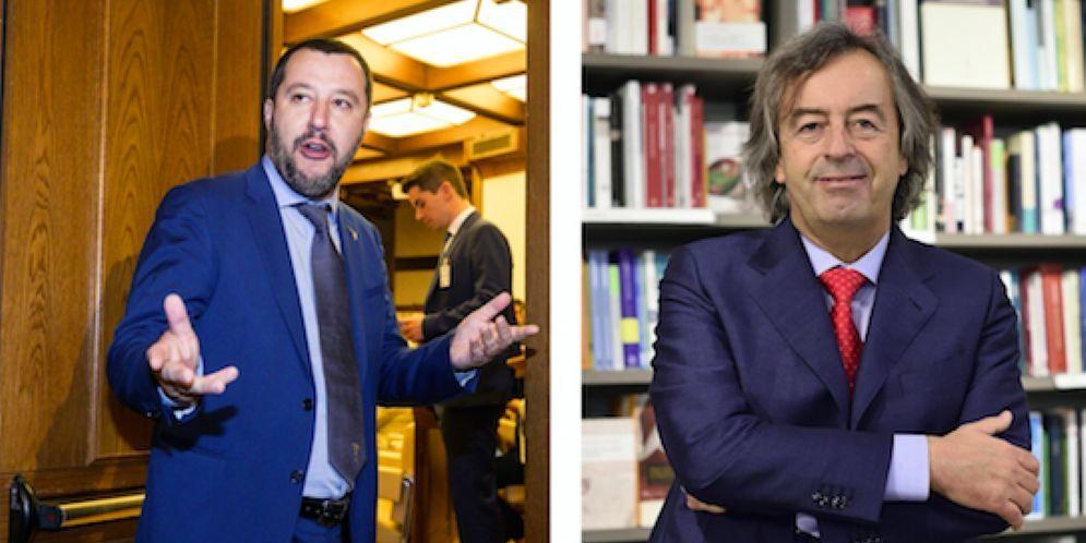 Il ministro dell'Interno Matteo Salvini e l'immunologo Roberto Burioni
