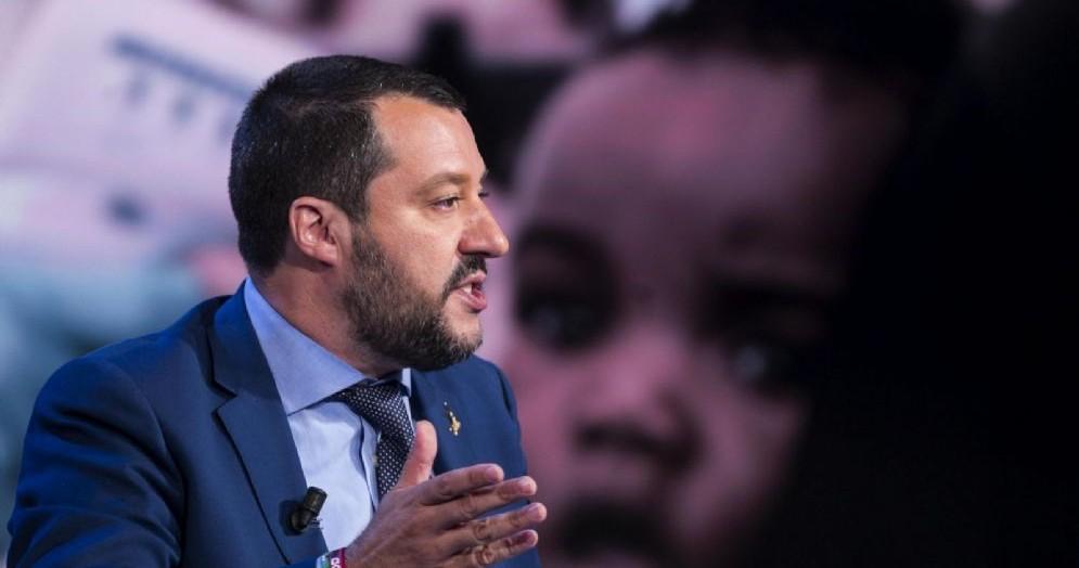 Matteo Salvini durante Porta a Porta, Roma, 20 giugno 2018