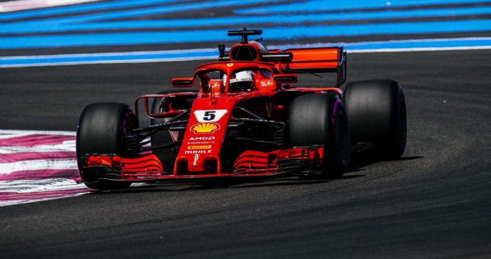 Sebastian Vettel in pista con la Ferrari nelle prove libere del GP di Francia di F1 al Paul Ricard