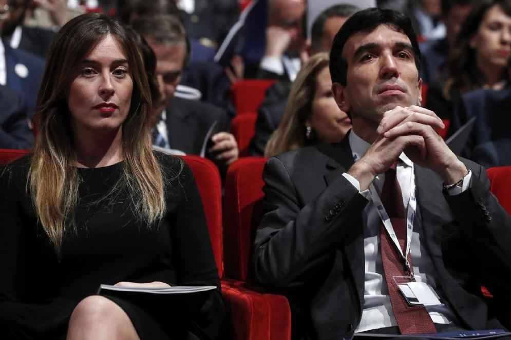 Il segretario del Pd Maurizio Martina con Maria Elena Boschi