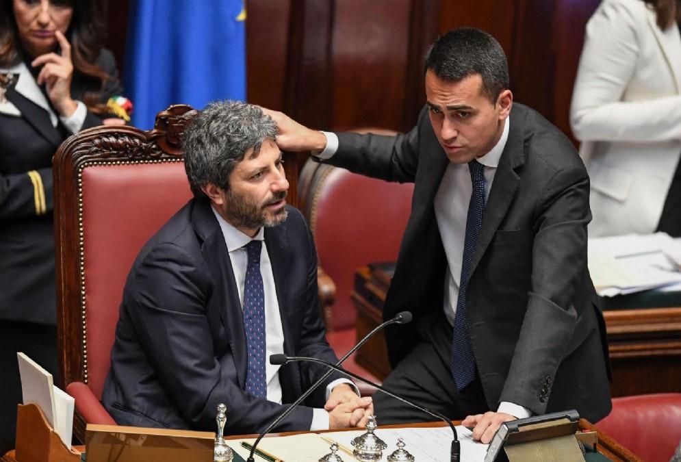 Il presidente della Camera Roberto Fico e il vicepremier Luigi Di Maio