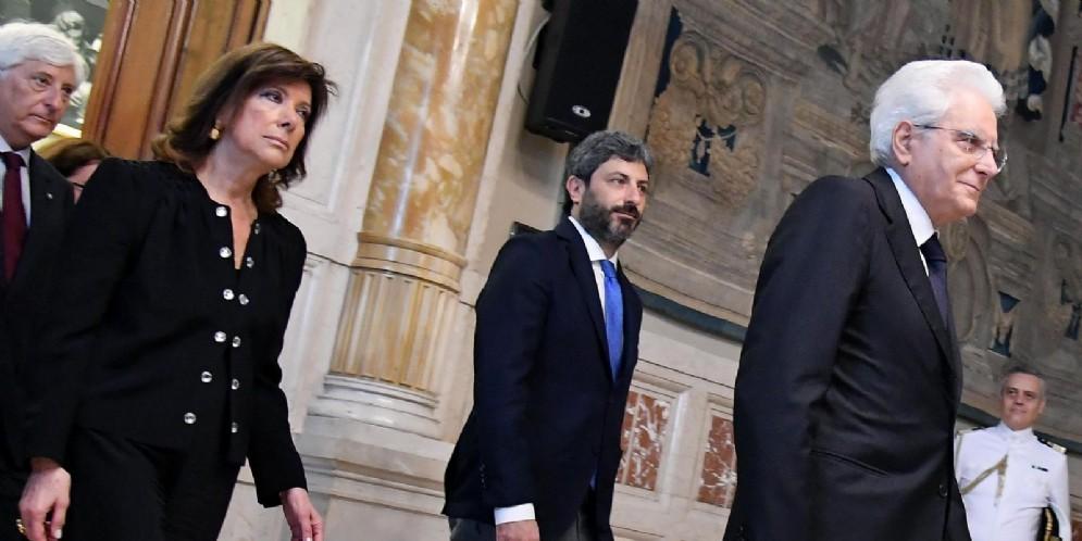 La presidente del Senato Maria Elisabetta Casellati con il presidente della Camera Roberto Fico e il presidente della Repubblica Sergio Mattarella
