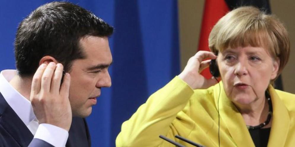 Alexis Tsipras con Angela Merkel