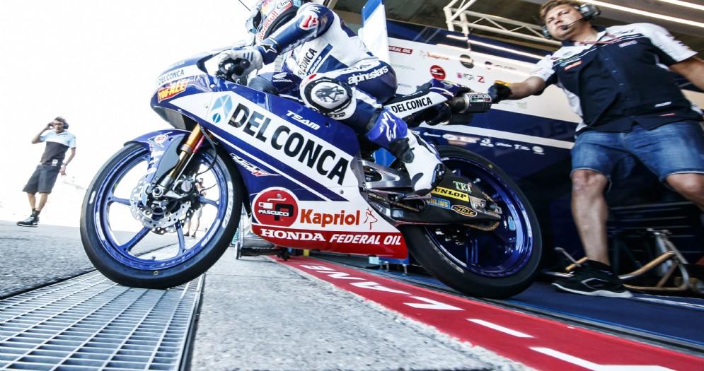 Jorge Martin in sella alla Honda del team Gresini Moto3 nelle prove libere ad Assen