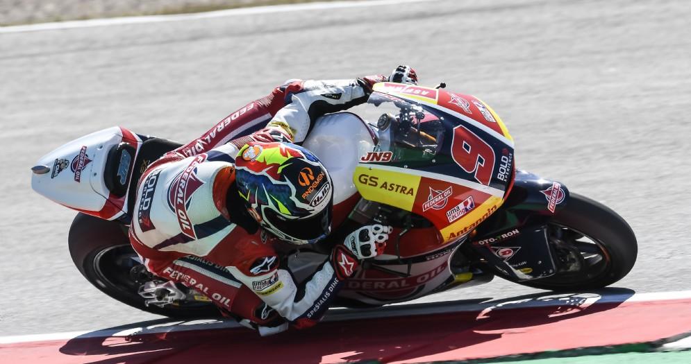 Jorge Navarro in sella alla Kalex del team Gresini Moto2 nelle prove libere del GP d'Olanda ad Assen
