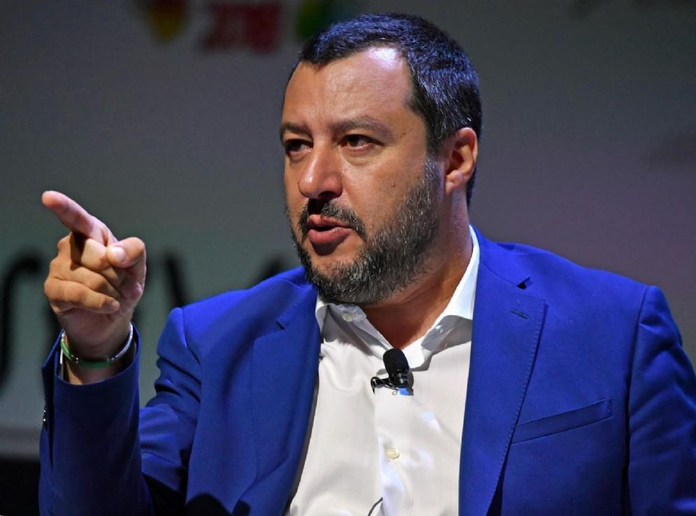 Il ministro dell'Interno, Matteo Salvini, durante il Festival del lavoro