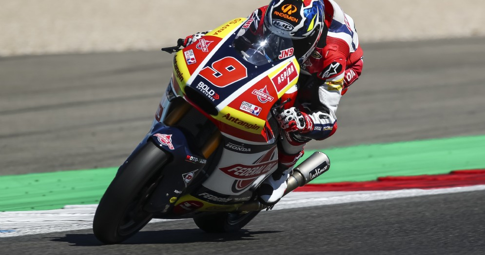 Jorge Navarro in sella alla moto del team Gresini Moto2 nelle qualifiche del GP d'Olanda ad Assen