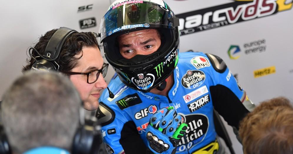 Franco Morbidelli nei box del team Marc Vds durante le prove del GP d'Olanda di MotoGP ad Assen