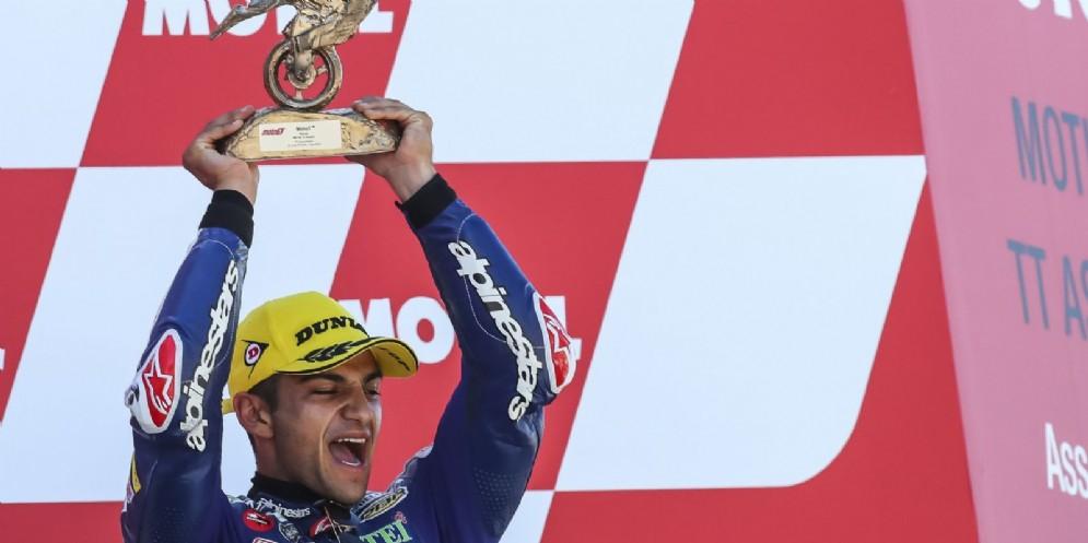 Jorge Martin sul gradino più alto del podio del GP d'Olanda di Moto3 ad Assen