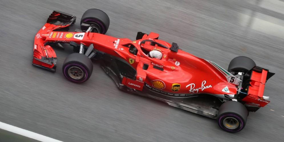 Sebastian Vettel al volante della sua Ferrari durante il GP d'Austria di F1 allo Spielberg