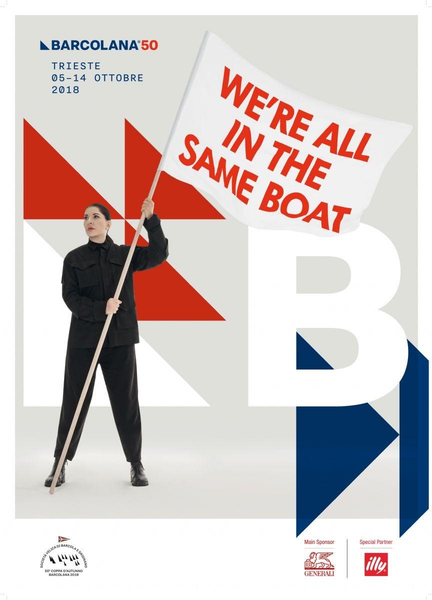 Barcolana: Marina Abramovič firma poster della 50^ regata