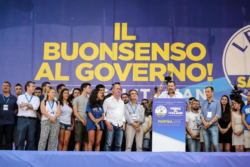 Matteo Salvini nel corso dell'annuale raduno della Lega a Pontida (Bergamo), 1 luglio 2018