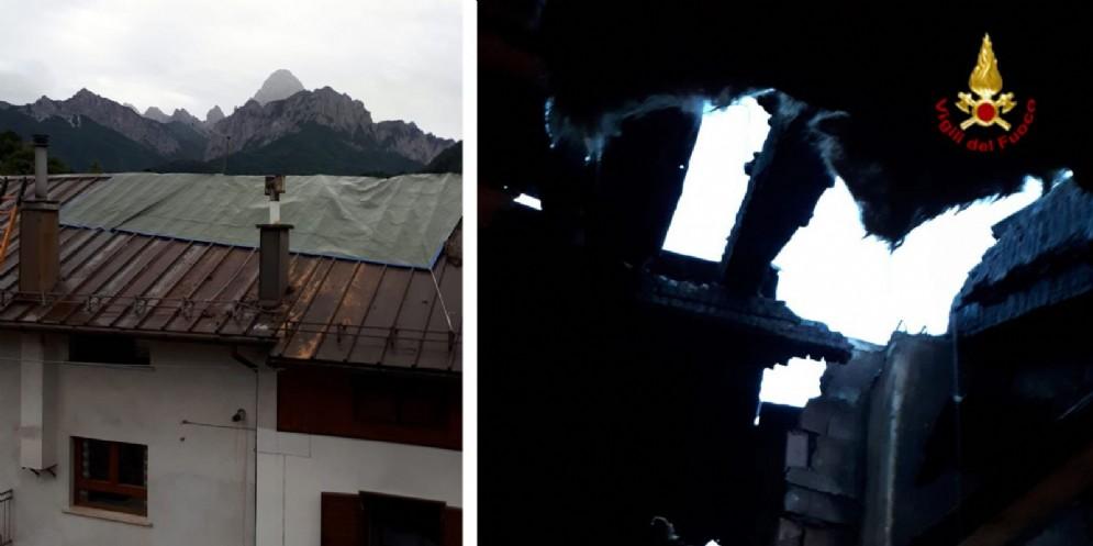 Incendio a Paularo: distrutto il tetto di un'abitazione