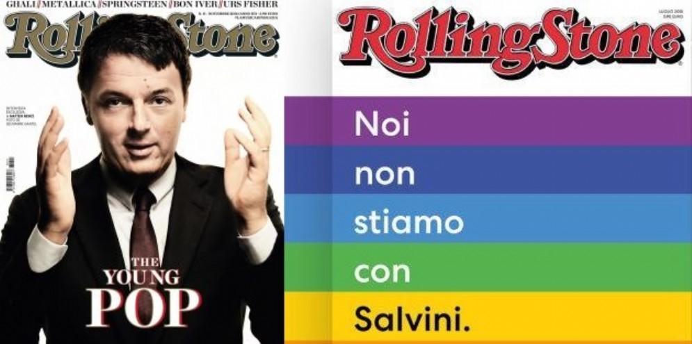 A sinistra, la copertina di Rolling Stone dedicata a Matteo Renzi. A destra, quella contro Matteo Salvini