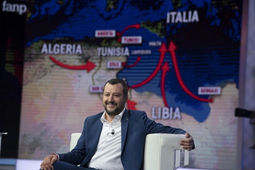 Il ministro dell'Interno Matteo Salvini ospite della trasmissione Agorà