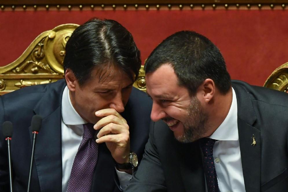 Il ministro dell'Interno Matteo Salvini con il presidente del Consiglio dei Ministri Giuseppe Conte