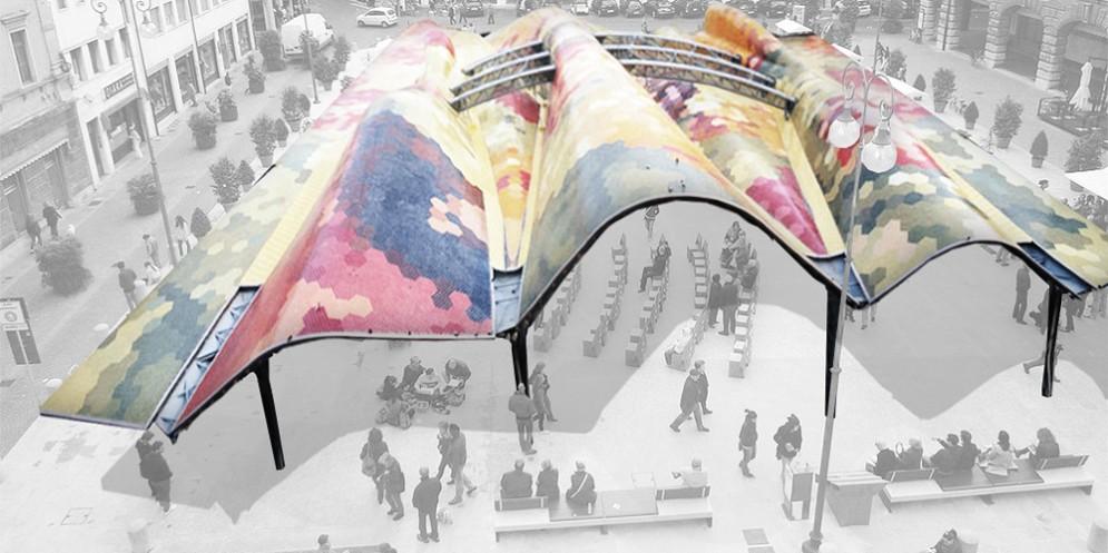 Un mercato coperto, pieghevole e smontabile: la proposta dell'architetto per piazza XX settembre