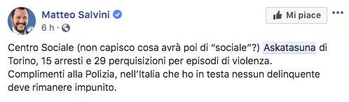 Salvini contro Askatasuna: «Polizia, complimenti. Nessun delinquente deve rimanere impunito»