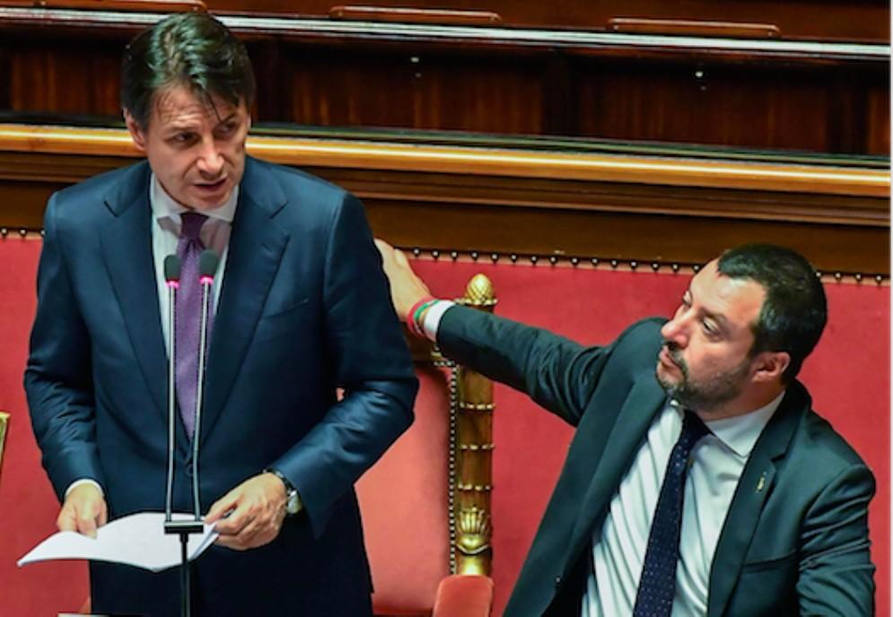 Il presidente del Consiglio Giuseppe Conte e il ministro dell'Interno Matteo Salvini