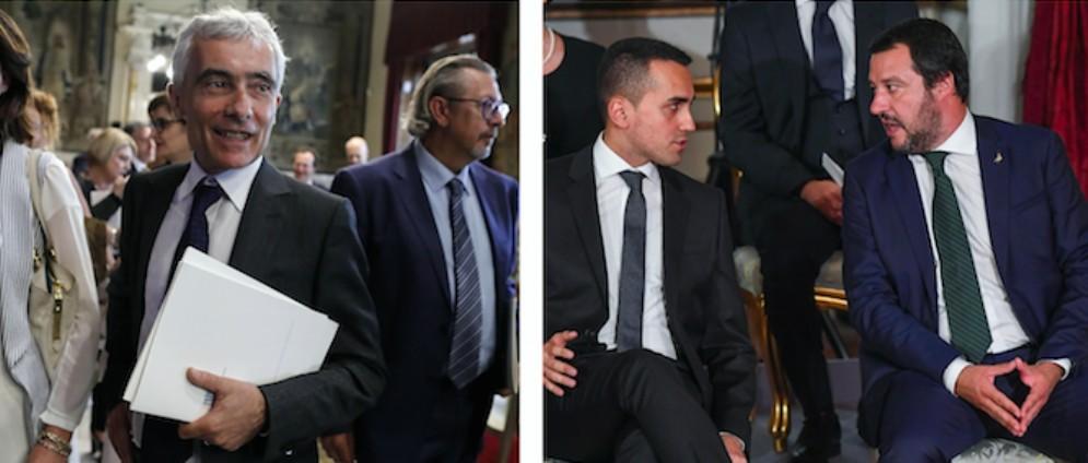 Il presidente dell'Inps Tito Boeri, Luigi Di Maio e Matteo Salvini