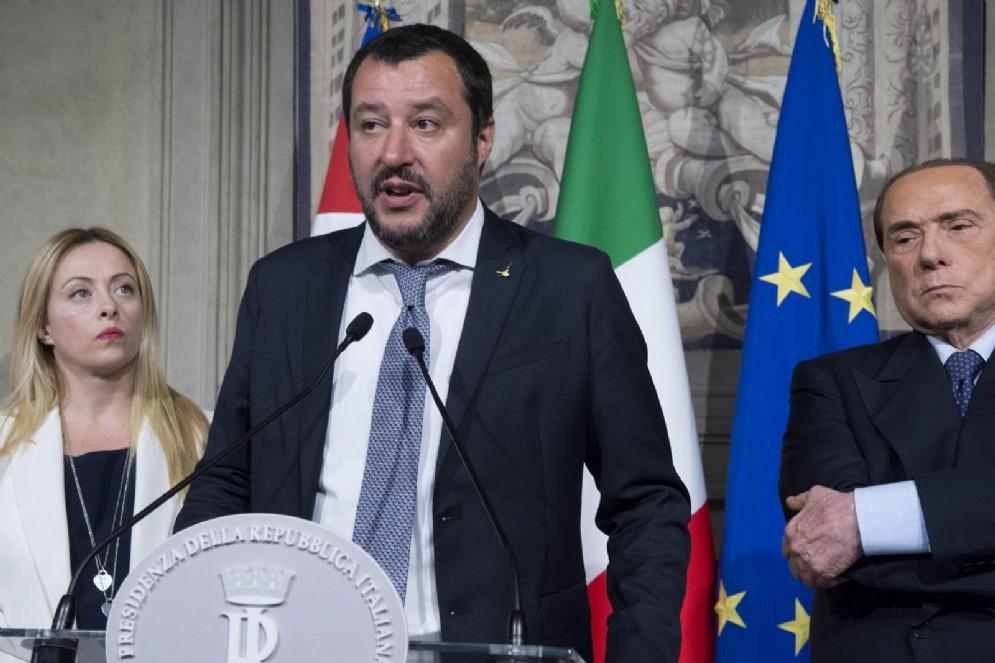 Gli (ex) alleati del centrodestra: Matteo Salvini della Lega, Giorgia Meloni di Fratelli d'Italia, Silvio Berlusconi di Forza Italia