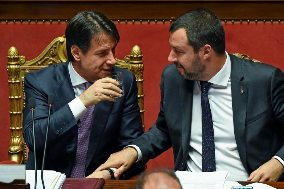 Giuseppe Conte e Matteo Salvini, in una immagine del 27 giugno 2018