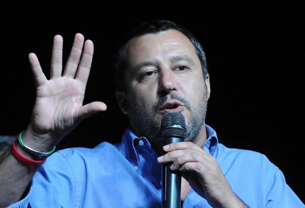 Il ministro dell'Interno, Matteo Salvini, alla festa della Lega a Oppeano (Verona)
