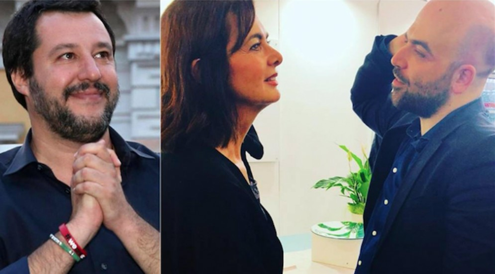 Matteo Salvini, Laura Boldrini e Roberto Saviano