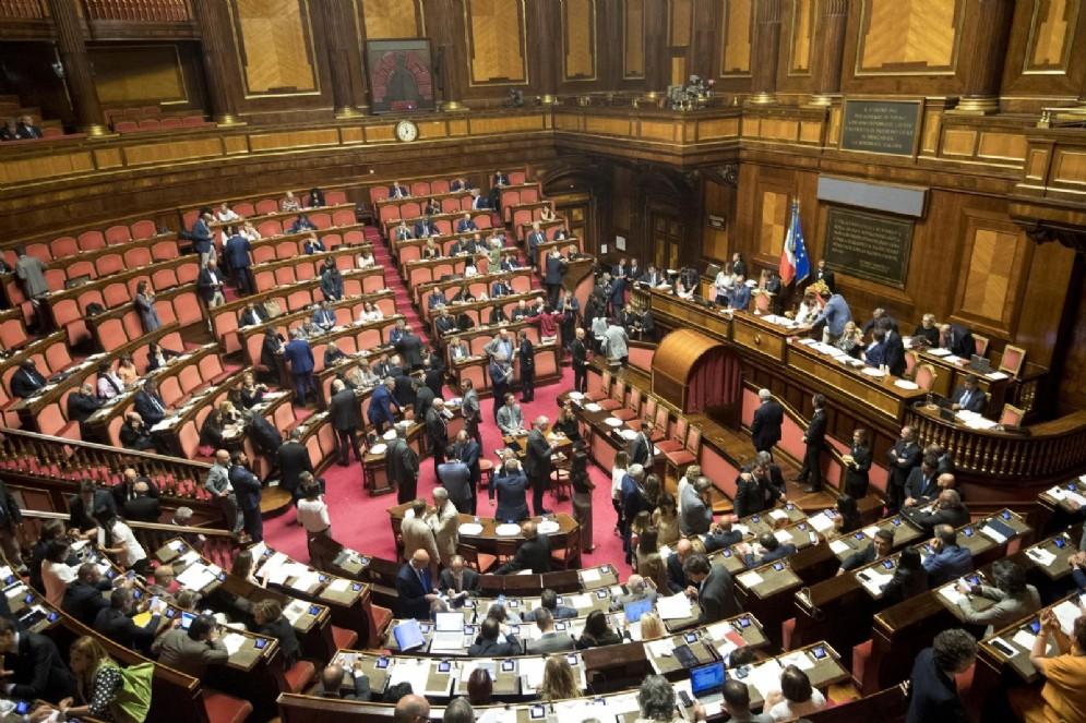L'aula del Senato durante la votazione per l'elezione di due componenti del consiglio di amministrazione della Rai