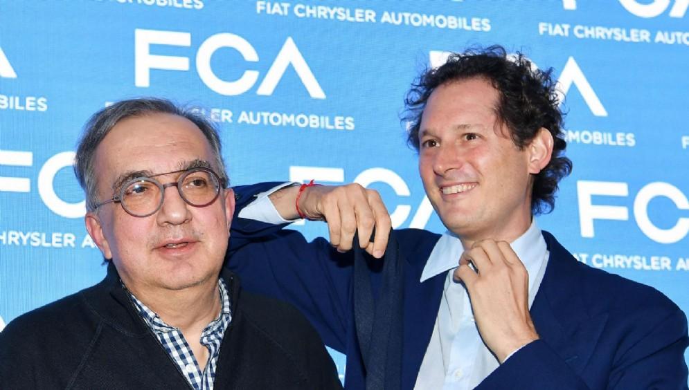 Sergio Marchionne e John Elkann al termine dell'evento FCA Capital Markets Day. Torino, 1 giugno 2018