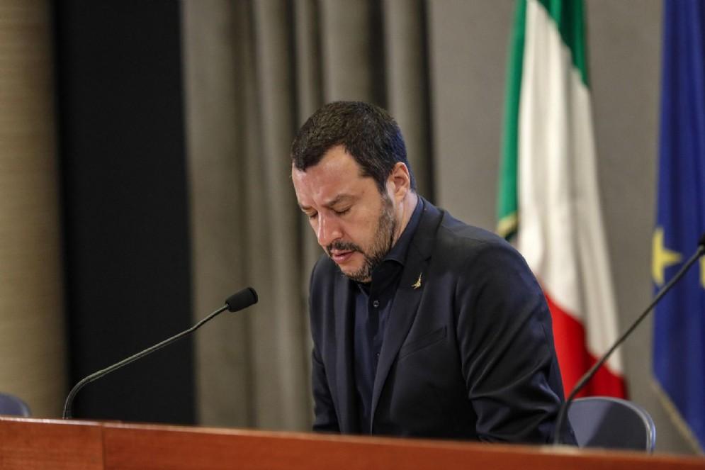 Il ministro dell'Interno Matteo Salvini al Viminale