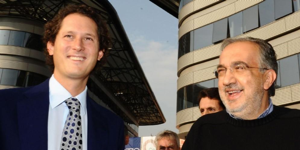 John Elkann, presidente Fiat, con l'amministratore delegato Sergio Marchionne
