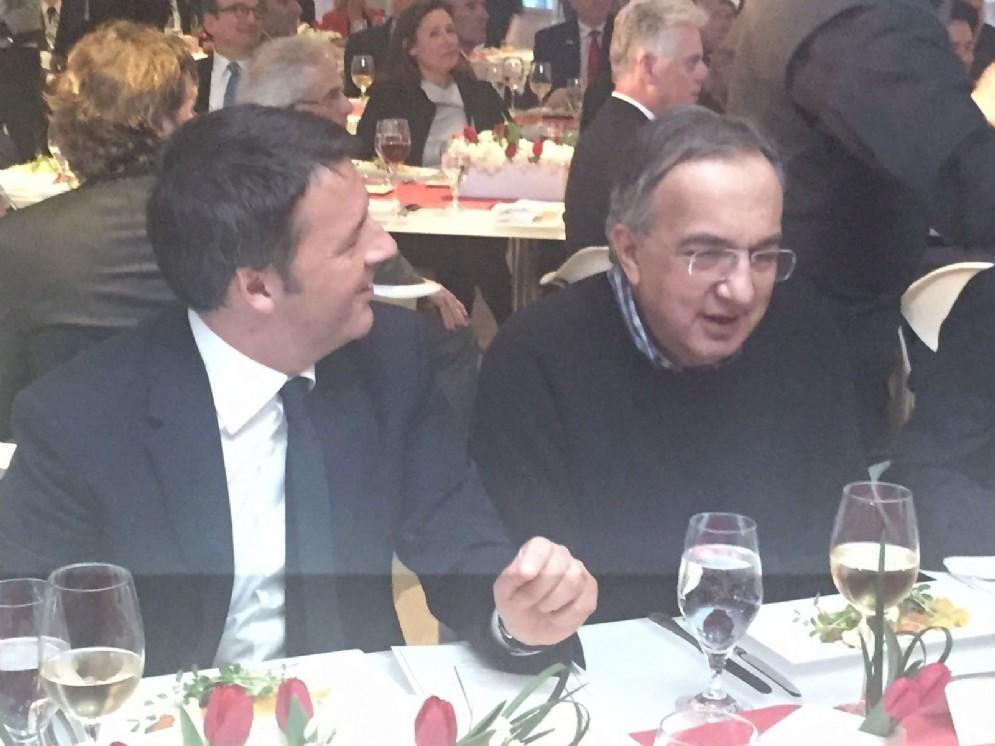 Matteo Renzi e Sergio Marchionne. Chicago, 31 ottobre 2016
