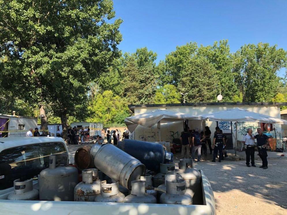Le operazioni di sgombero del Camping River. Roma, 26 luglio 2018