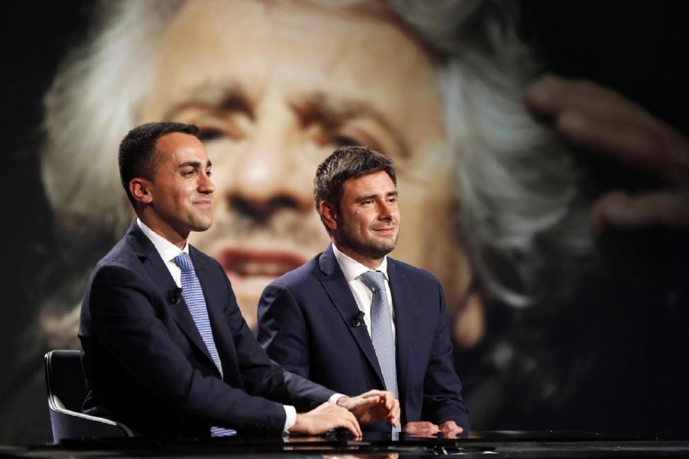 """Luigi Di Maio e Alessandro Di Battista negli studi di 'In mezz'ora"""" su Rai 3, Roma, 25 febbraio 2018"""