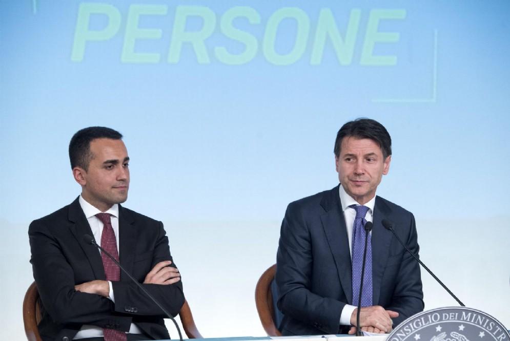 Luigi Di Maio e Giuseppe Conte presentano il Decreto Dignità. Roma, 3 luglio 2018