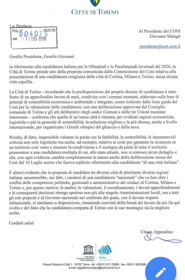 La lettera al Coni di Chiara Appendino
